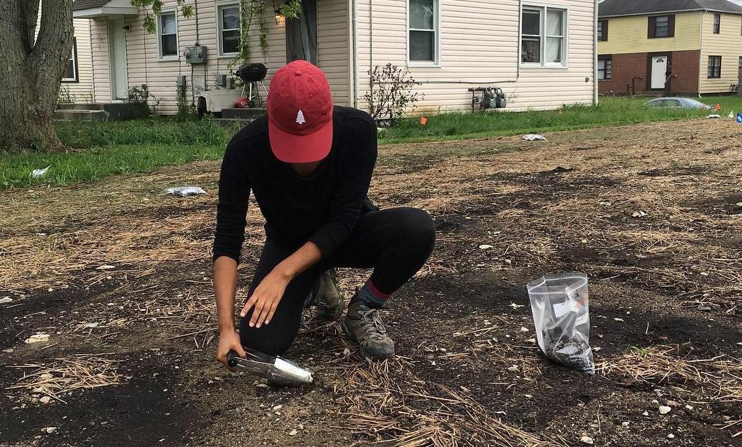 Man testing the soil