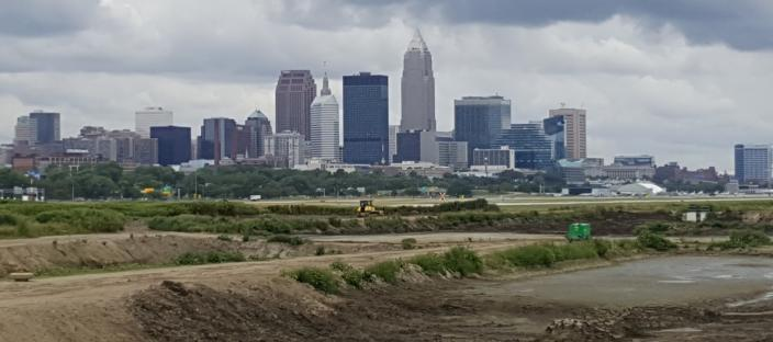 Confined disposal facility for dredge in Cleveland, Ohio